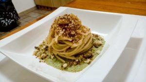 spaghetti aglio olio crema di cavolfiore
